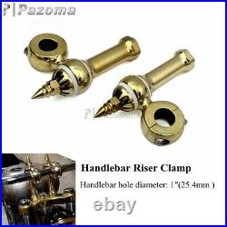 1 Handle Bar Risers Clamps Old School Brass for Harley Bobber Chopper Custom