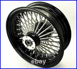 18 X 8.5 Black Chrome 48 Fat King Spoke Rear Wheel Harley Custom Chopper Bobber