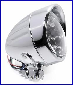 4 Scheinwerfer Chrom Klarglas Mini klein für Harley-Davidson Universal ECE