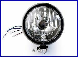 4½ Scheinwerfer Schwarz Klarglas f Harley-Davidson Chopper Custom Universal