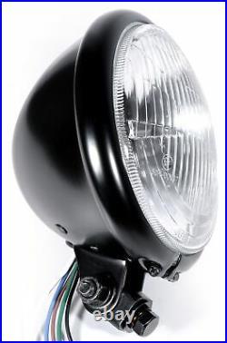 5¾ Scheinwerfer Schwarz H4 Retro Bates Style für Harley Suzuki Universal ECE