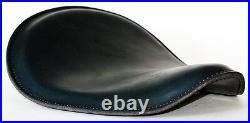 Black Leather Black Stitch Custom Harley Wcc Chopper Bobber Solo Seat Xs 650 Cb