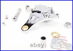 Chrome Left Front Brake Caliper Kit Harley Bobber Chopper DNA Paughco Springer