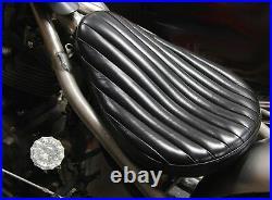 Classic Black Leather 569 Vert Rib Chopper Solo Seat Tuck & Roll Harley Bobber