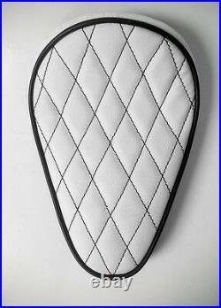 Custom Solo Seat White & Black Diamond to fit Harley Bobber Chopper Yamaha