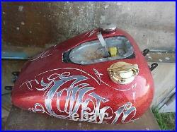 Custom gas fuel petrol tank cap lid brass cast Harley BSA Triumph Bobber Chopper