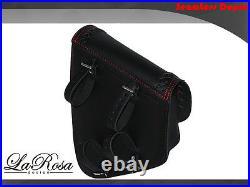 La Rosa Harley Chopper Bobber Left Saddlebag Black Leather Red Stitch Cross Lace