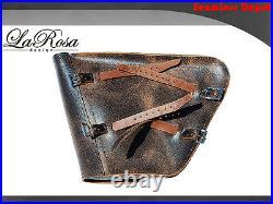 La Rosa Harley Chopper Bobber Left Saddlebag Rustic Black Leather Solo Strap