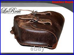 La Rosa Harley Chopper Bobber Rigid Left & Right Saddlebag Rustic Brown Leather
