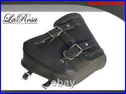 La Rosa Harley Chopper Bobber Rigid Left Saddle Bag Black Leather Cross Laced