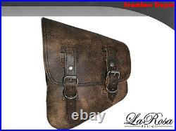 La Rosa Harley Chopper Bobber Rigid Left Saddle Bag Rustic Brown Leather