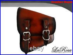 La Rosa Harley Chopper Bobber Rigid Left Saddlebag Antique Dark Shedron Leather