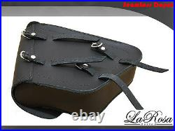 La Rosa Harley Chopper Bobber Rigid Left Saddlebag Black Leather Style Custom