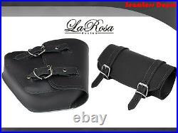La Rosa Harley Chopper Bobber Rigid Left Saddlebag + Tool Bag Black Leather