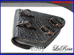 La Rosa Harley Chopper Bobber Rigid Saddle Bag Black Alligator Emboss Leather