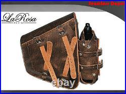 La Rosa Rustic Brown Leather Harley Chopper Bobber Left Saddlebag + Gas Bottle