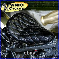 Leather 568 Black Diamond Stitch Hi-back Solo Seat Harley Bobber Chopper