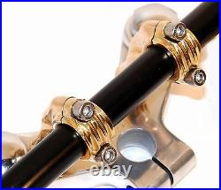 Old School 3rise Bent Finned Solid Brass Risers Harley Bobber Chopper For 1bar