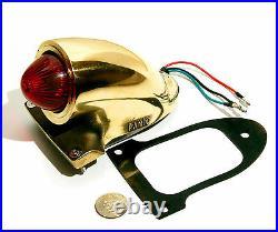Old School Solid Brass Sparto Replica Fil Tail Light Harley Tri Bobber Chopper