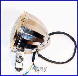 Solid Brass Bezel Faceted Aluminum Back 4 Headlight Harley Xs650 Bobber Chopper