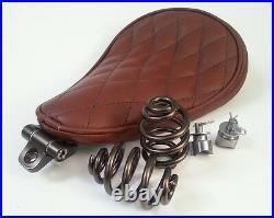 Solo Seat Brown Leather Kit Springs & Bracket Heavy Duty Harley Chopper Bobber